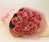 バラの花束◆ピンク16本 かすみ草付き