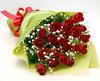バラの花束◆レッド16本 かすみ草付き