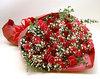 ◆バラ(薔薇)の花束◆レッド・ピンクMIX100本 かすみ草付き