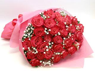 ◆バラ(薔薇)の花束◆ピンク32本 かすみ草付き