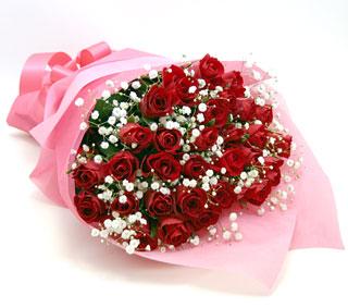 ◆バラ(薔薇)の花束◆レッド34本 かすみ草付き