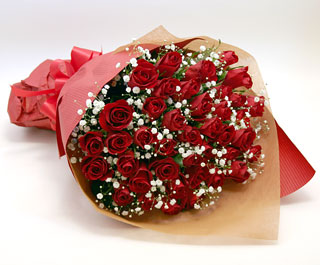 ◆バラ(薔薇)の花束◆レッド37本 かすみ草付き