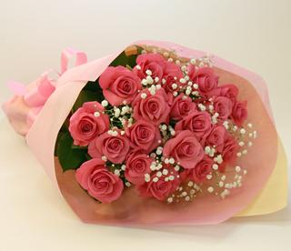 バラの花束◆ピンク17本 かすみ草付き