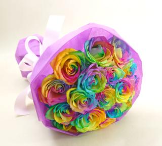 ◆バラ(薔薇)の花束◆レインボーローズ20本 かすみ草付き