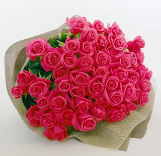 バラの花束 ピンク77本
