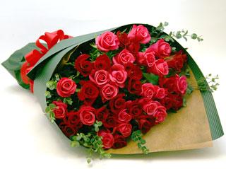 ◆バラ(薔薇)の花束◆レッド・ピンクMIX40本