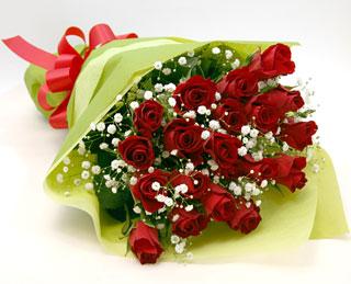 バラの花束◆レッド18本 かすみ草付き
