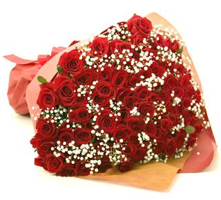 ◆バラ(薔薇)の花束◆レッド100本 かすみ草付き