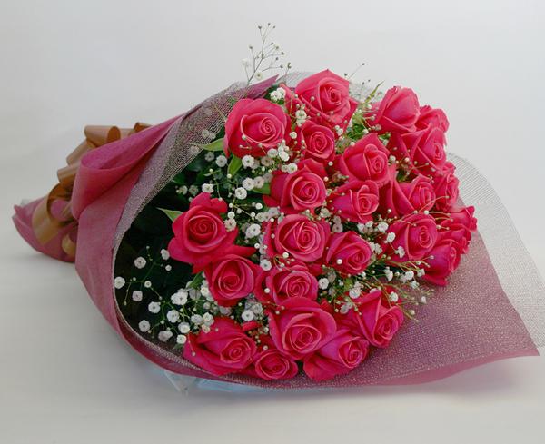 ◆バラ(薔薇)の花束◆ピンク25本 かすみ草付き