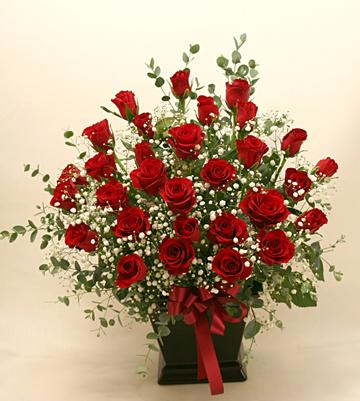 還暦の花●バラのアレンジメント 30本